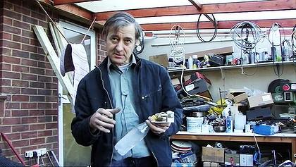 Peter Dearman in his garage