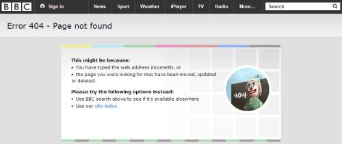 BBC 404 page