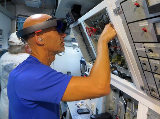 Astronaut Luca Parmitano uses HoloLens