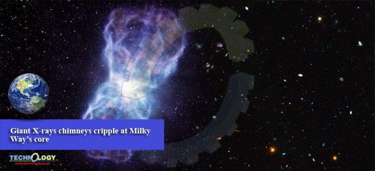 Giant X-rays chimneys cripple at Milky Way's core