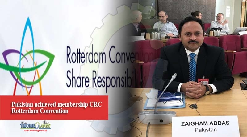 Pakistan achieved membership CRC Rotterdam Convention