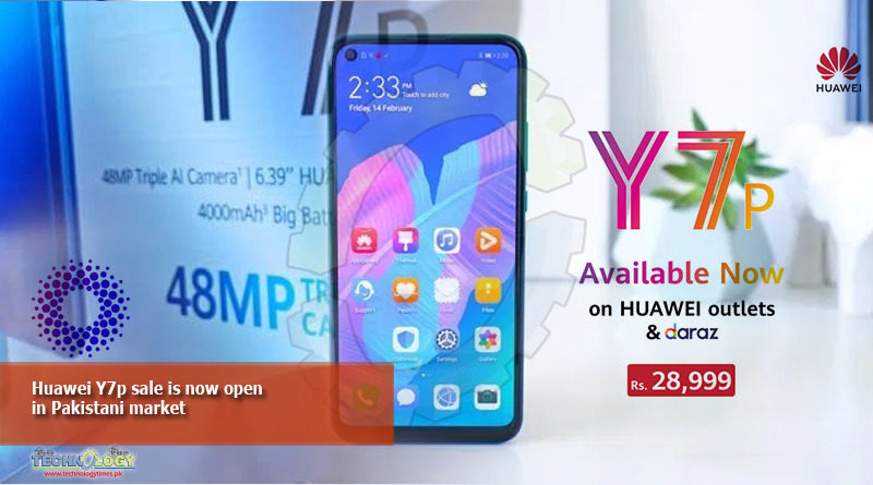 Huawei Y7p sale is now open in Pakistan