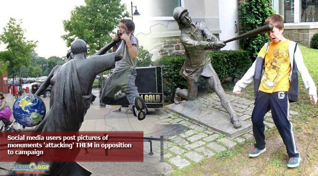 Social media users post pictures of monuments'attacking' THEM in opposition to campaign