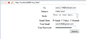 Send Email through Java Web application using your Gmail, yahoo, Hotmail Accounts
