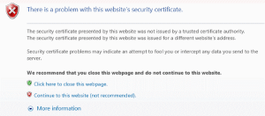 "Fix: ""There is a problem with this website's security certificate"" error"