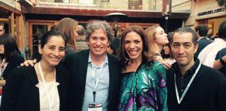 Ana Sofía Valdivia (Directora Ejecutiva de Endeavor Perú), Gary Urtega (co-fundador de CinePapaya), Linda Rottenberg (fundadora de Endeavor), Manuel Olguin (co-fundador de CinePapaya)
