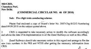 Railway 5 Digit Scheme