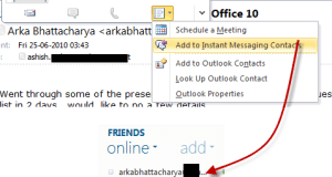 Add to WLM from Outlook