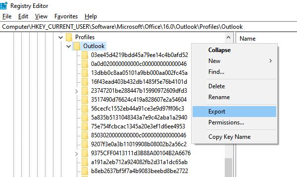 Backup Outlook Profile Settings via Registry