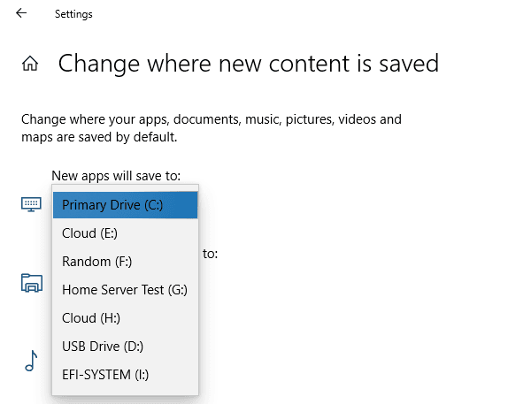 Change default app installation location in Windows 10