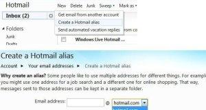 Create Hotmail Alias