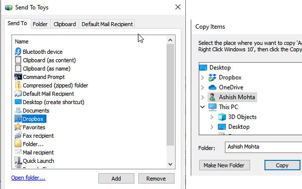 Copy Folders to Dropbox