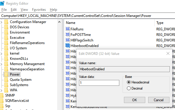 Enable Disable HybirdBoot State in Windows 10