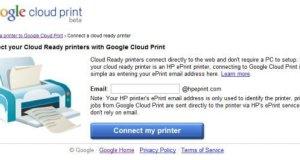 Google Cloud Print Add HP EPrinter