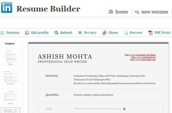 make impressive and printable resume with linkedin resume