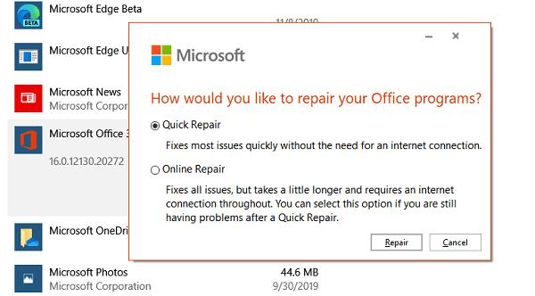 Microsoft Repair Office