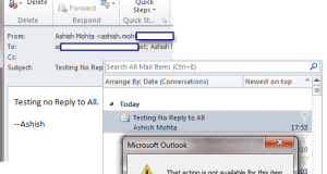 No Reply to All Outlook