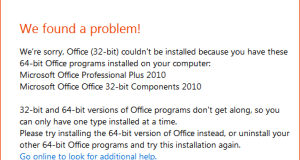 Office 32 64 bit problem