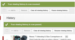 Pause YouTube Viewing History