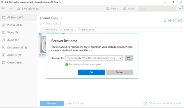 Recover file Set destination