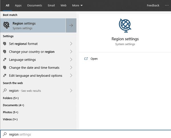 Search Region Settings Windows 10