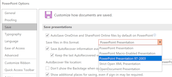 Set Default Save Format for PowerPoint
