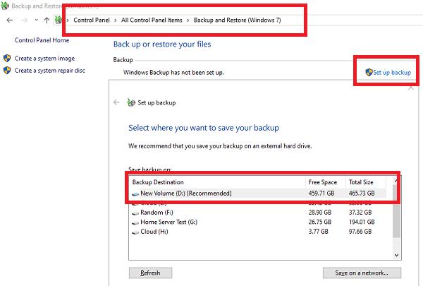 Setup Backup Drive Windows 10