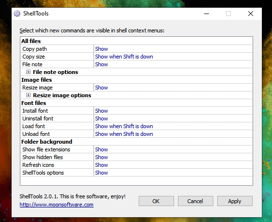Shell Extension options