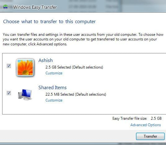 Tranfser to New Computer