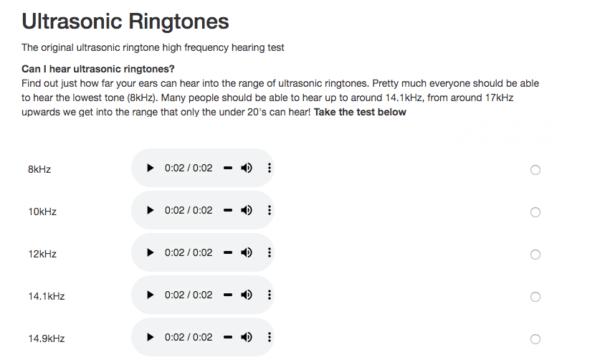 Ultrasonic Ringtones test hearing