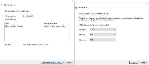 Windows 10 Backup Schedule