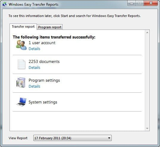 Windows 7 after transfer User Details