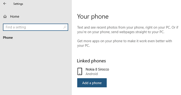 Windows Your Phone Section