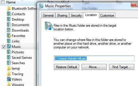Moving system folders in Vista