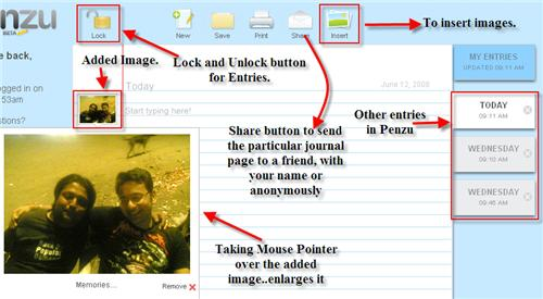 Penzu Journal Entry and Features