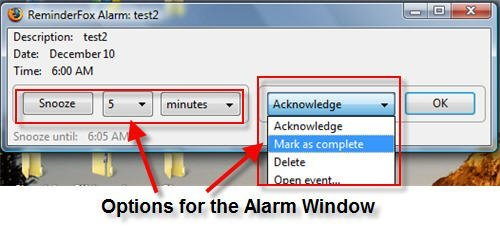 Options to Create reminders, To do events and alarms