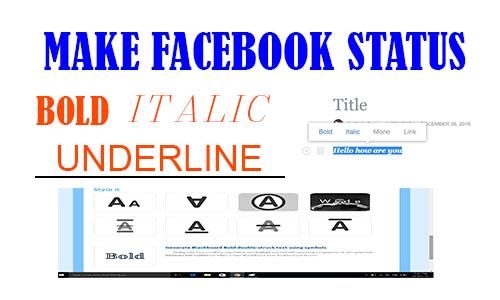 Make Facebook Status or Post Bold, Italic, Underline and Strikethrough