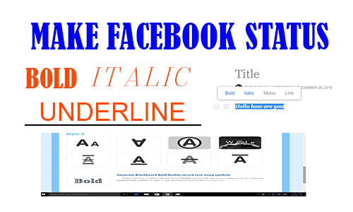 Make Facebook Status or Post Bold, Italic, Underline and Strikethrough