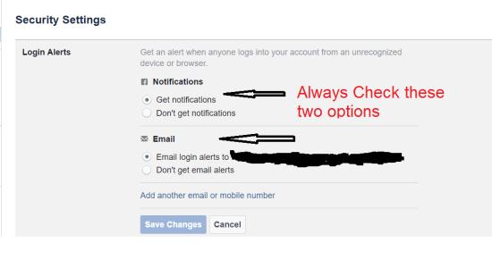 Facebook Security feature login alerts