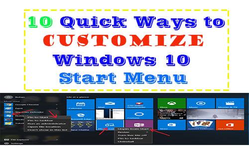 ways to customize windows 10 start menu