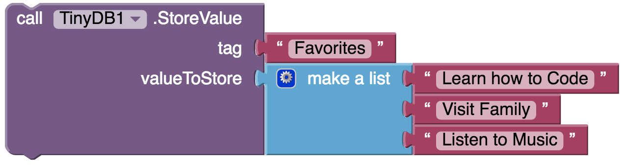 TinyDB store favorites list