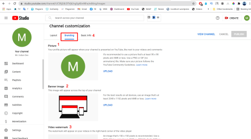 YouTube Channel Customization Page