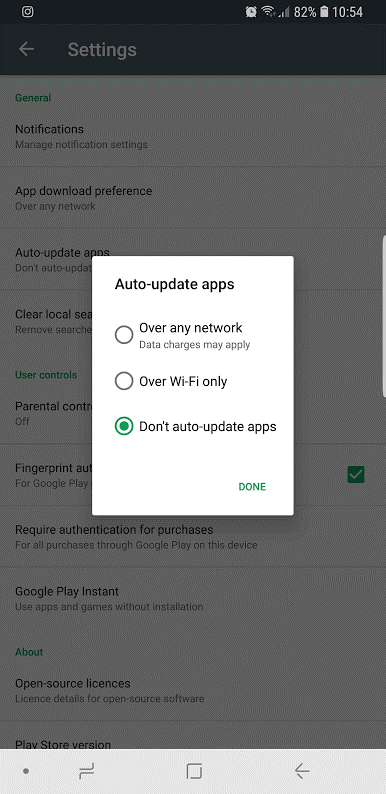 Android Auto-update Apps Settings