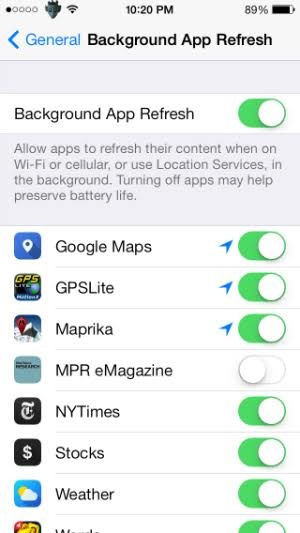 iOS Background Apps Settings