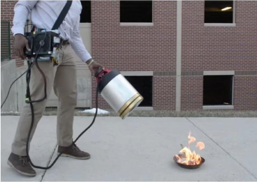 A weird but useful techgadget:sonic fire extinguisherr