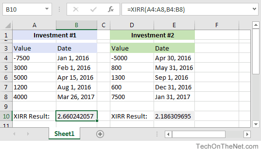 MS Excel: How to use the XIRR Function (WS)