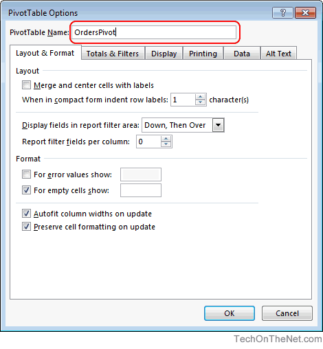 Ms Excel 2016 How To Change The Name Of A Pivot Table