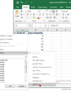 Microsoft excel also ms how to show top results in  pivot table rh techonthenet