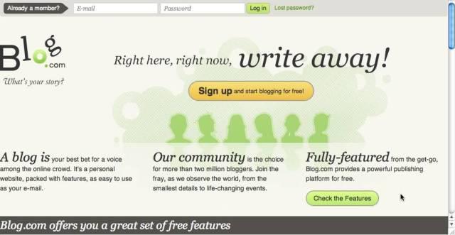 Image: Blog.com best blog site to create a free blogs