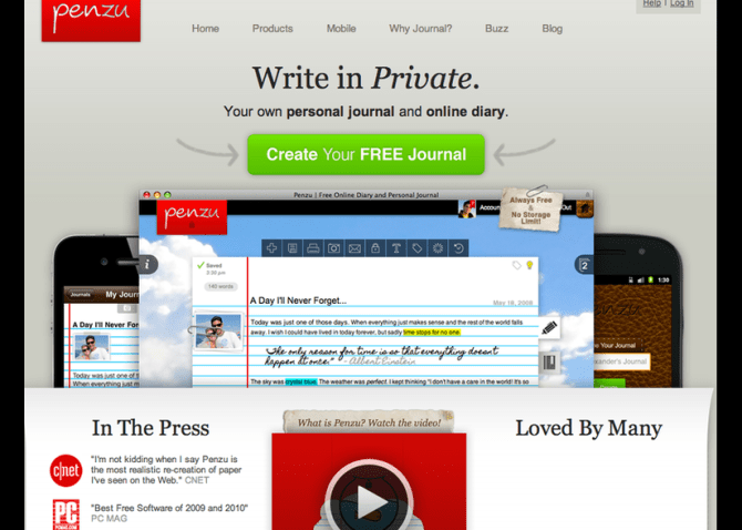image: Penzu best blog site to create a free blogs